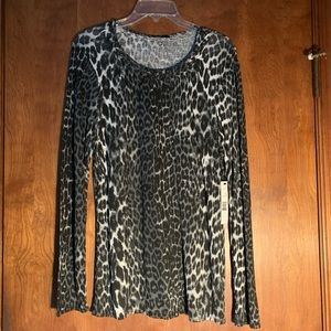 Elie Tahari Zenna Knit Top Black White Animal